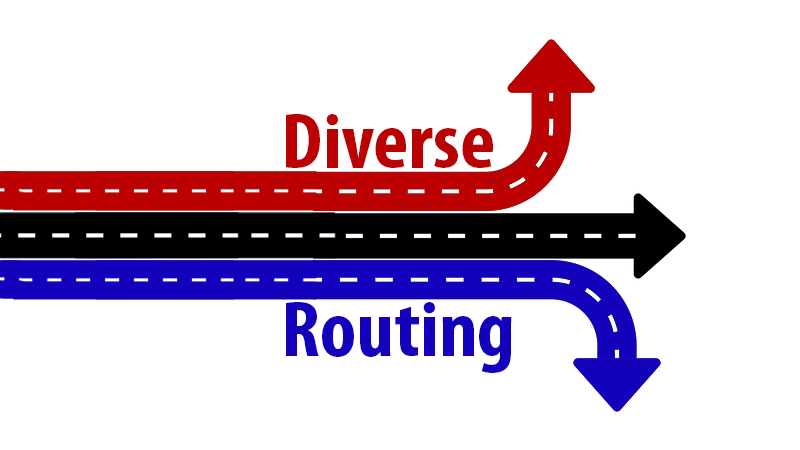 Diverse routing is where the carrier provides more than one route to bring the ISDN 30's from the exchange. Alternative routing provides two different cables from the local exchange to your site. This helps ensure your service will be maintained and protect against cable failure.